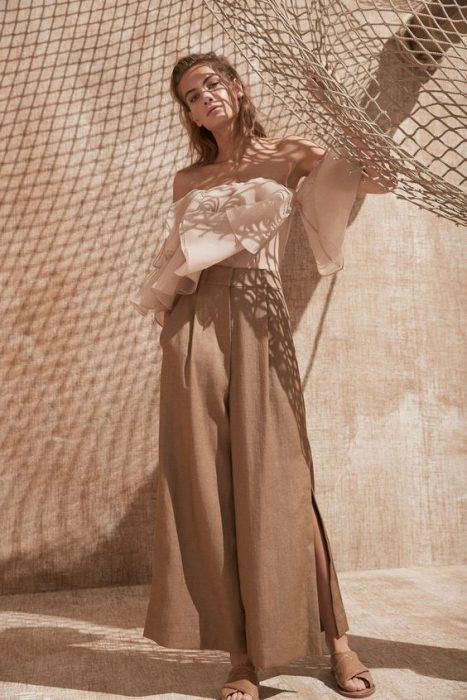 pantalon de vestir de lino mujer noche