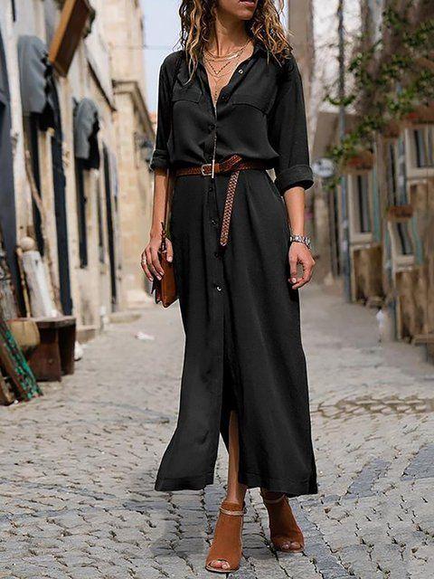 vestido camisero largo con cinto