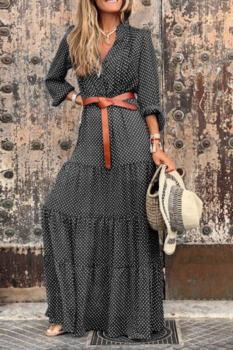 vestido largo con cinto