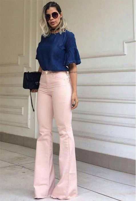 blusa denim y pantalon rosa
