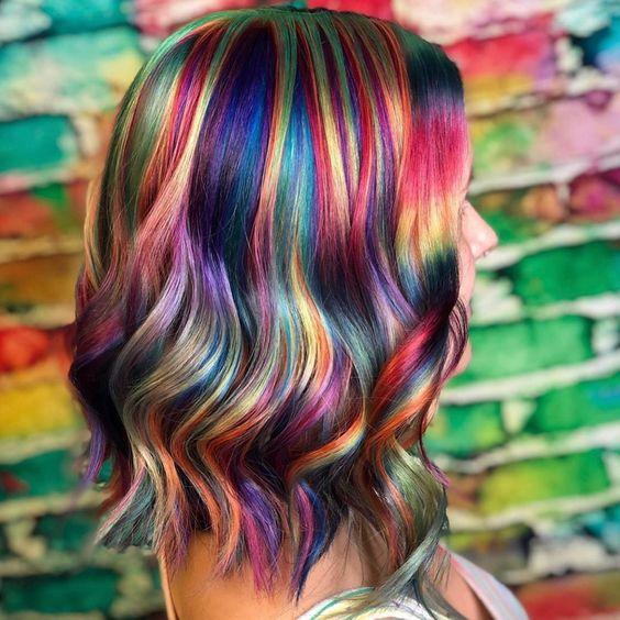 cabello holografico colorido