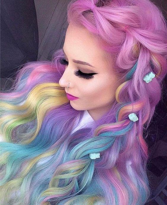 cabello holografico rainbow