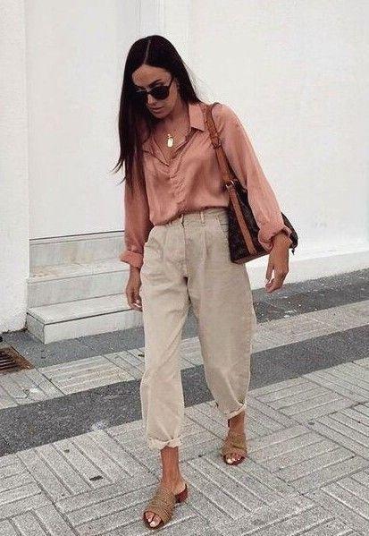 look casaul con pantalon tiro alto y camisa