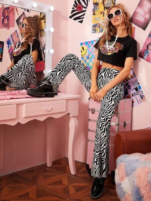 look juvenil conn pantalon cebra