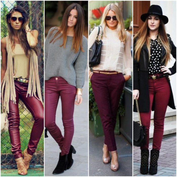 outfit con pantalon bordo