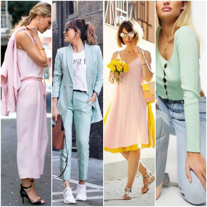 outfit de moda con colores pasteles