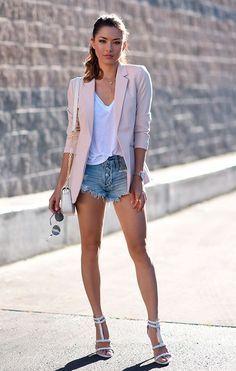 short denim y blazer rosa pastel