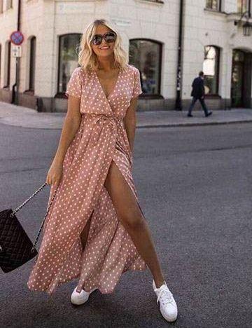 look con vestido largo cruzado
