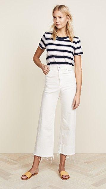 pantalon blanco capri y remera a rayas