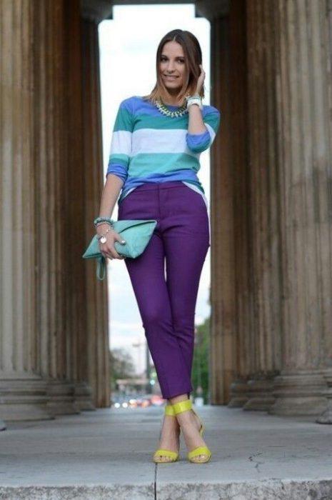 pantalon capri violeta