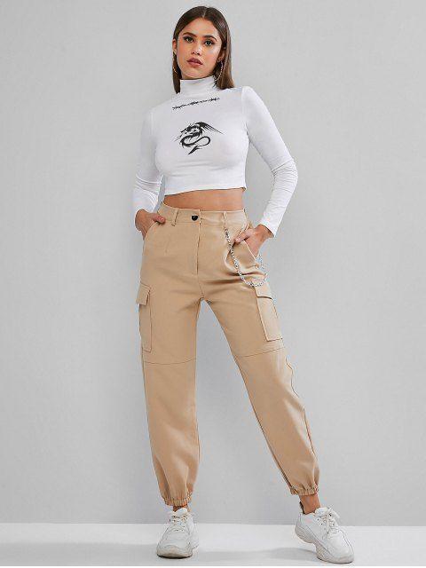 pantalon cargo beige look juvenil
