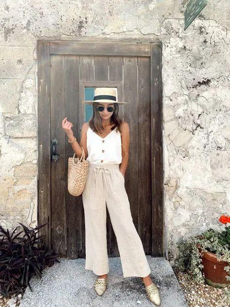 pantalon crudo de lino con blusa blanca