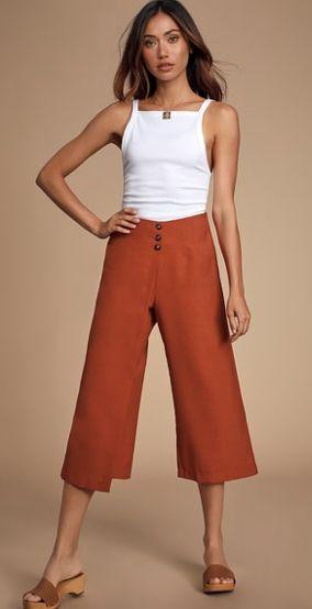 pantalon de lino capri