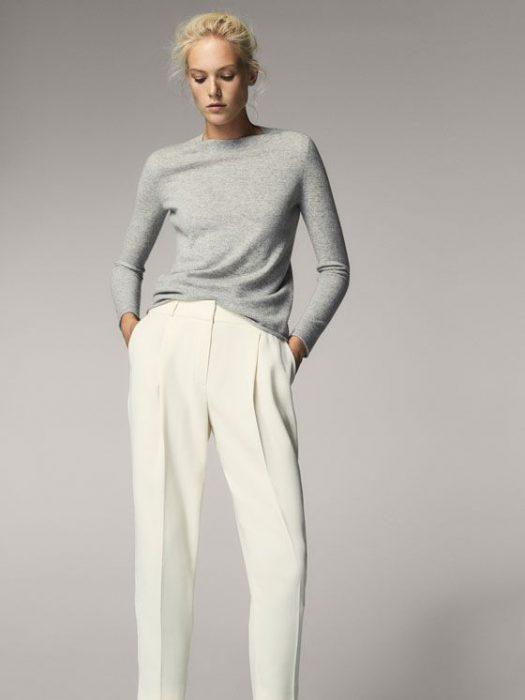 pantalon de vestir crudo con gris