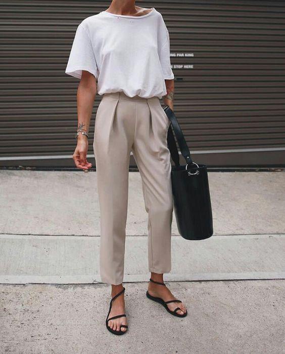 pantalon de vestir y remeron blanco