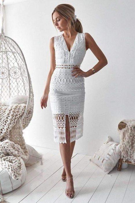 vestido a crochet blanco