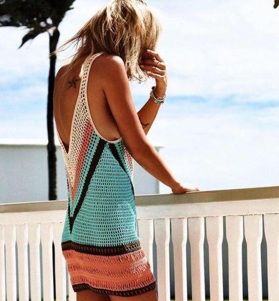vestido a crochet de colores