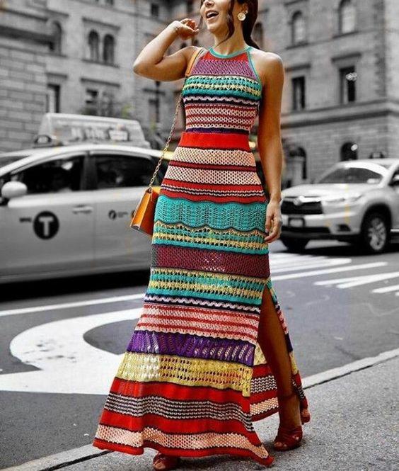 vestido a crochet largo colores