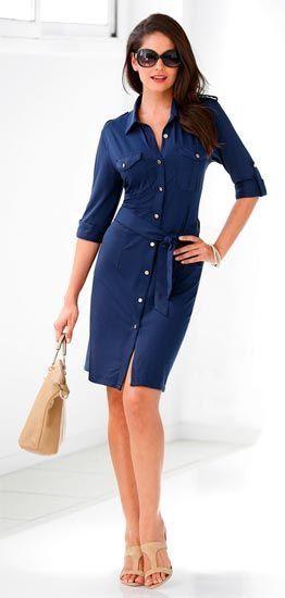 vestido camisero azul para la oficina