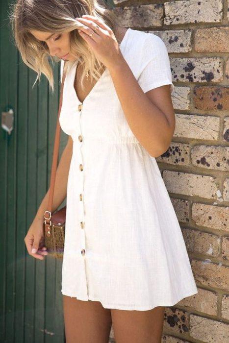 vestido camisero informal blanco