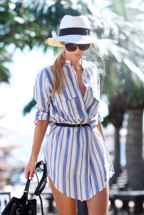 vestido camisero informal con cinto