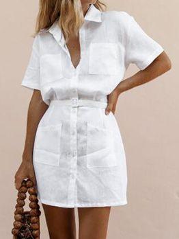 vestido camisero lino corto