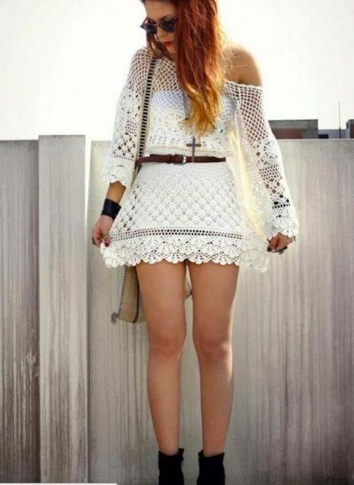 vestido corto crochet blanco