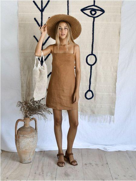 vestido corto de lino