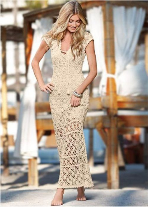 vestido crochet crudo