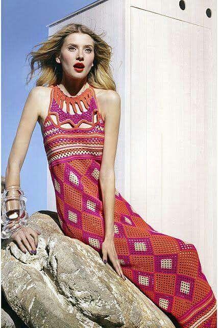 vestido crochet largo colores