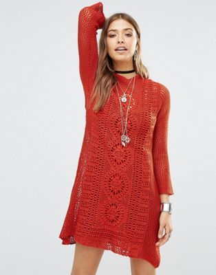 vestido crochet rojo