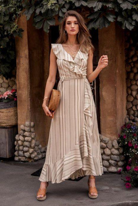 vestido cruzado a rayas para senoras