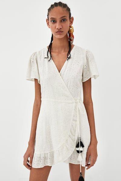 vestido cruzado broderie blanco