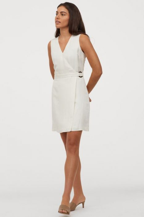 vestido cruzado corto blanco