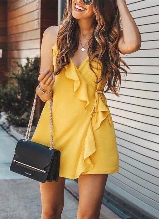 vestido cruzado corto juvenil