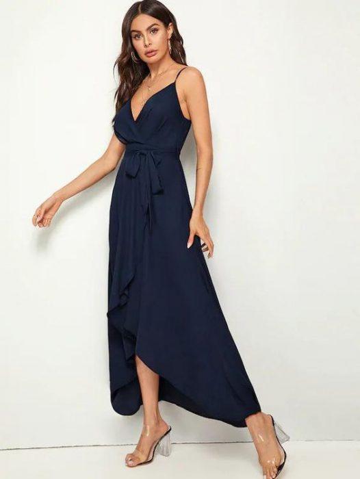 vestido cruzado largo azul