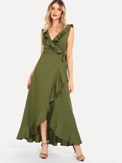 vestido cruzado largo verde