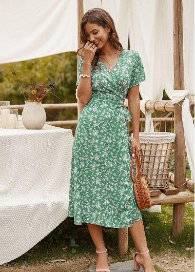 vestido cruzado para senoras estampado