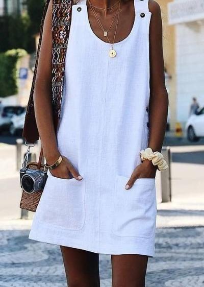 vestido de lino blanco casual