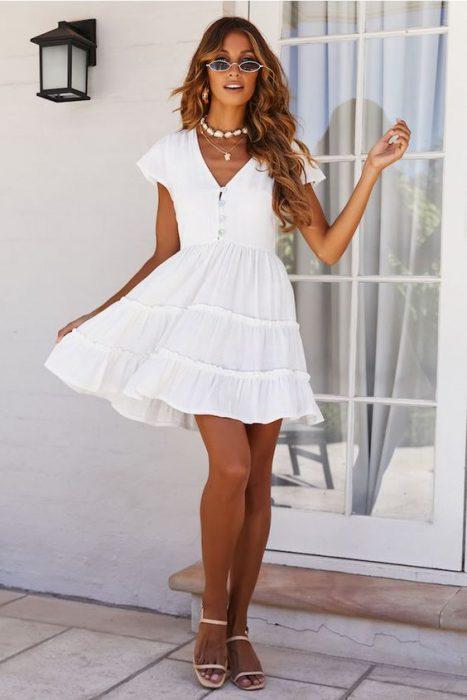vestido de lino casual corto