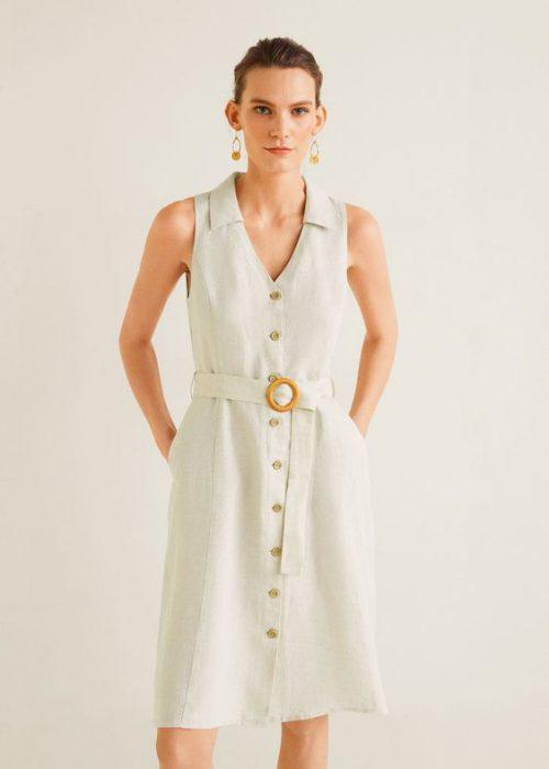 vestido de lino formal para la oficina
