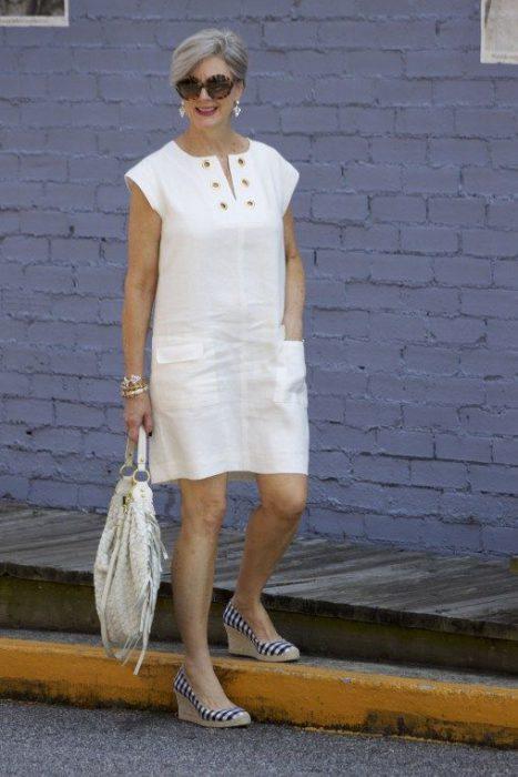 vestido de lino informal blanco