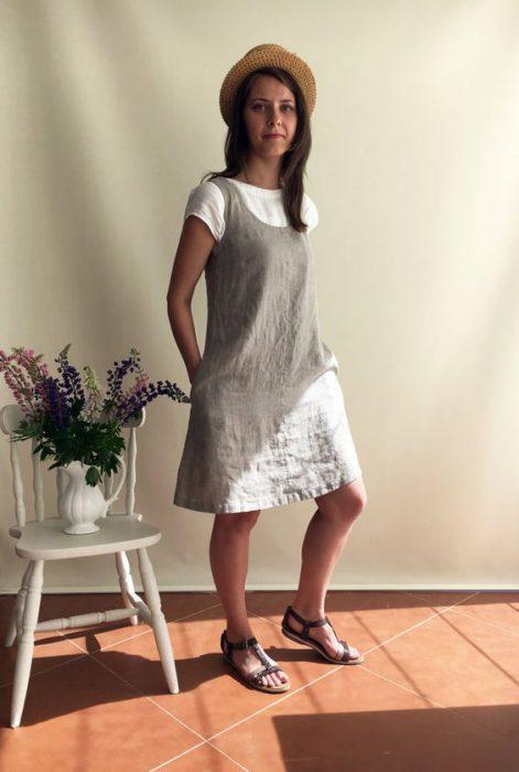 vestido de lino informal crudo