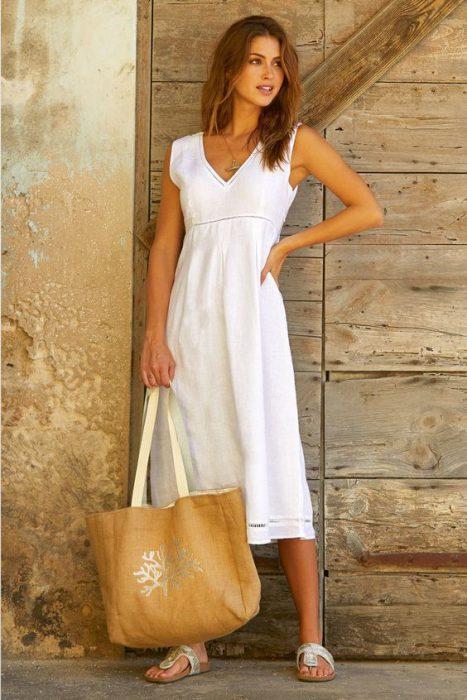vestido de lino informal midi