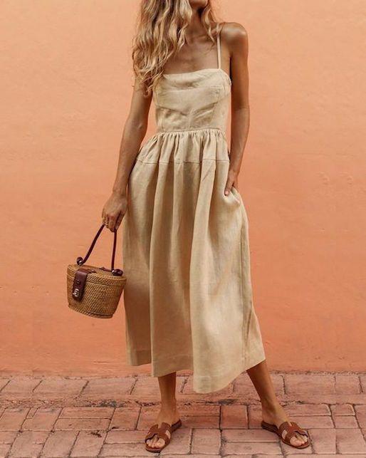 vestido de lino informal