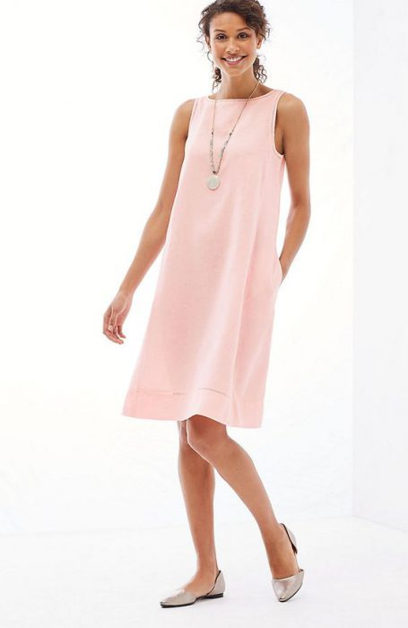 vestido de lino rosa para la oficina 1