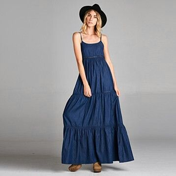 vestido denim largo