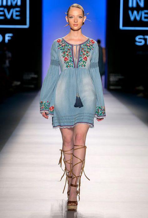 vestido denim tunica corto