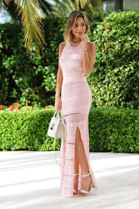 vestido ganchillo largo rosa