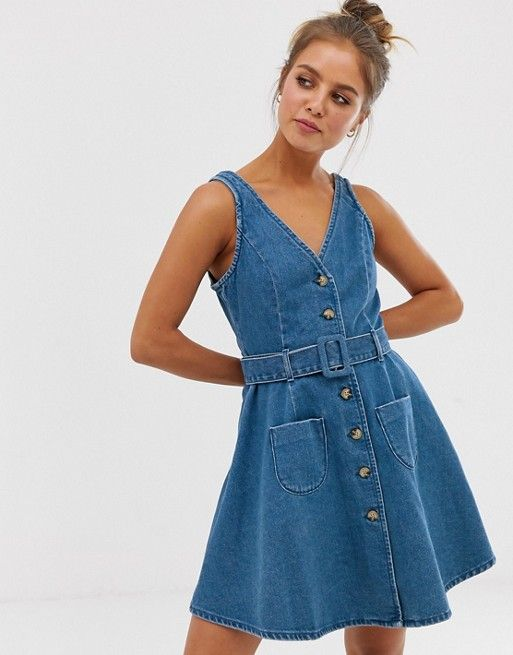 vestido jeans abotonado grueso